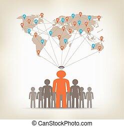 equipe, homem, comunicação global