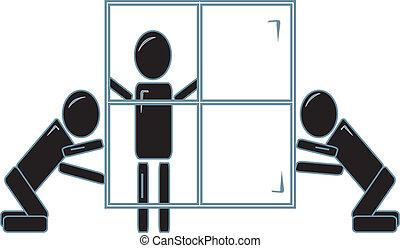 equipe, instalar, um, janela