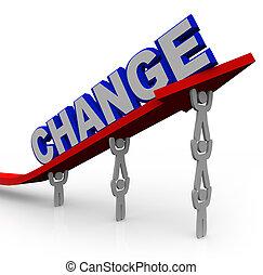 equipe, levanta, palavra, mudança, para, transformar, e,...