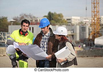 equipe, ligado, local construção
