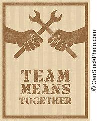 equipe, meios, junto