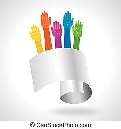 equipe, multicolored, símbolo., mãos