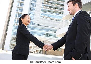 equipe negócio, aperto mão