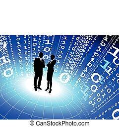 equipe negócio, com, código binário, internet, fundo