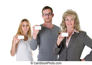 equipe negócio, com, cartões negócio, 1