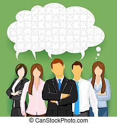 equipe negócio, com, confundido, conversa, bolha
