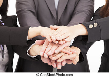 equipe negócio, com, mão, junto, para, trabalho equipe,...