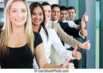 equipe negócio, dar, polegares cima