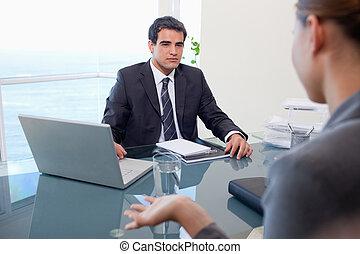 equipe negócio, durante, um, reunião
