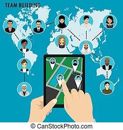 equipe negócio, edifício., diferente, avatar, pessoas, ligado, mundo, map.