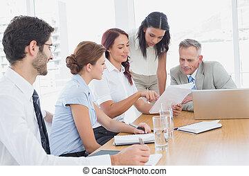 equipe negócio, em, um, reunião