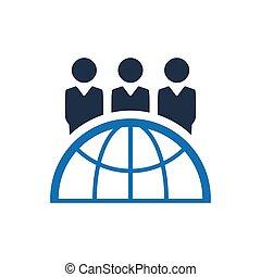 equipe, negócio global, ícone