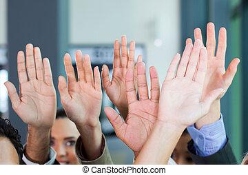 equipe, negócio, junto, mãos