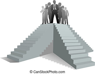 equipe negócio, líder, pessoas, escada cima, para, sucesso