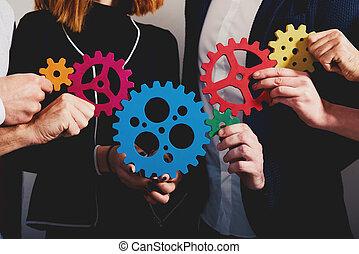 equipe negócio, ligar, pedaços, de, gears., trabalho equipe, sociedade, e, integração, conceito