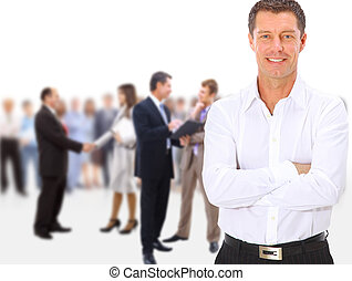 equipe negócio, pessoas, grupo, torcida, duração cheia, levantar, isolado, branco, fundo