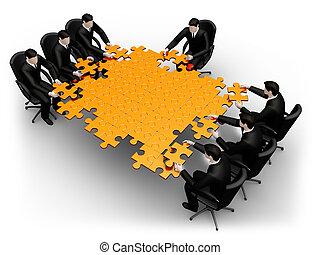 equipe negócio, predios, um, quebra-cabeça