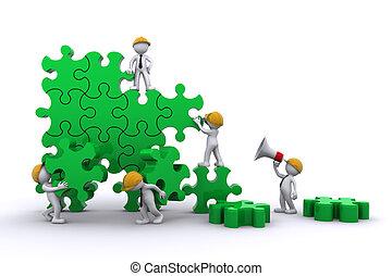 equipe negócio, trabalho, predios, um, puzzle., buuilding,...