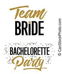 equipe, noiva, e, partido bachelorette, casório, lettering, frases, vetorial, jogo