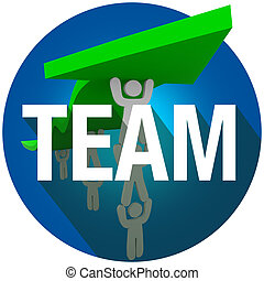 equipe, palavra, longo, sombra, povos trabalham, elevador, seta, círculo, selo