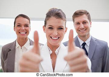 equipe, pessoal, aprovação, dar, recrutamento