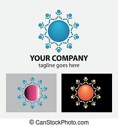 equipe, pessoas, conectado, logotipo