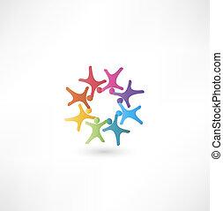 equipe, pessoas, símbolo., multicolored