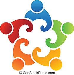 equipe, pessoas, união, 5, logotipo