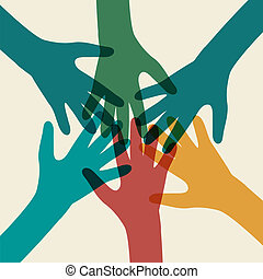 equipe, símbolo., multicolored, mãos