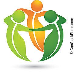 equipe, saudável, folheia, apps, logotipo
