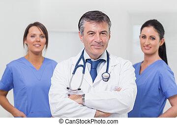 equipe soignant, sien, sourire, docteur