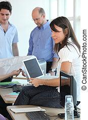 equipe trabalho, em, escritório