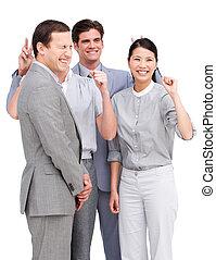 equipe, vivamente, tendo, negócio, junto, divertimento