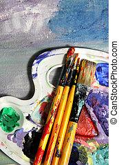 equipement tableau, et, peinture huile