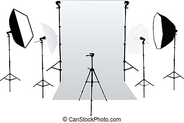 equipm, -, przybory, fotografia studia