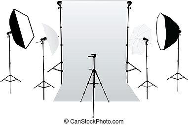 equipm, -, tillbehör, ateljé fotografi