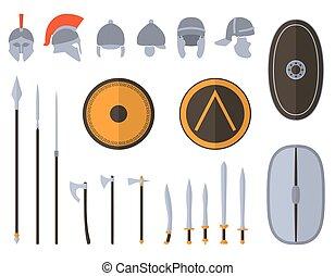 equipment., 武器, 保護である, セット, 古代