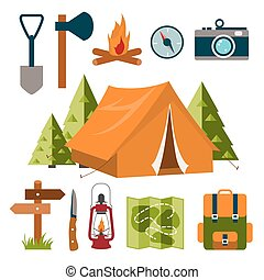 equipment., 観光客, camping.