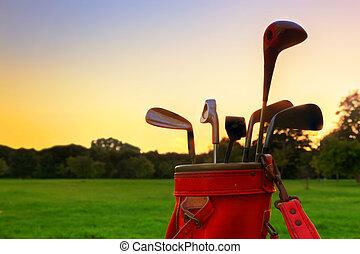 equipment., 클럽, 골프, 일몰, 전문가