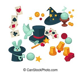 Equipment and trained animals for magic tricks set. Play...