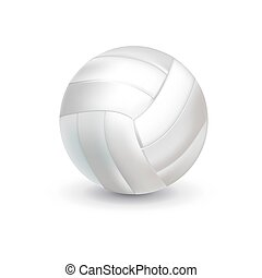 equipment., ball., voleibol, branca, brincando, realístico
