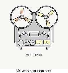 equipment., broadcast., ton, analogue, design., nostalgie, style., recorder., électrique, retro, bande, plat, loud., illustration, appareil, ligne, bobine, dessin animé, icône, music., élément, vecteur, audio, musical