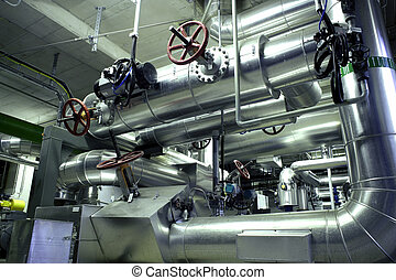 Equipment, cables and piping as found inside of a modern industr
