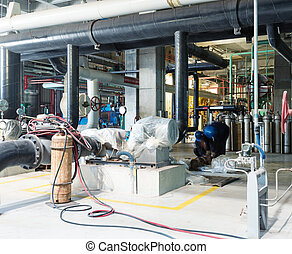 Equipment, cables and piping as found inside of industrial power
