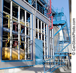 Equipment, cables and piping industrial plant