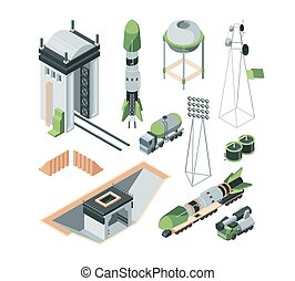Equipment cosmodrome isometric big set. Underground bunker for flight managers tractor transporting space shuttle.