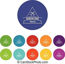 Equipment emblem icons set vector color