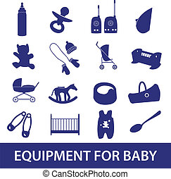 equipment for baby icon set eps10