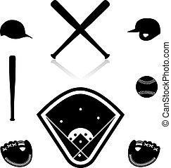 Equipment for baseball, vector