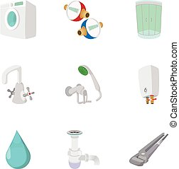Equipment for bathroom icons set, cartoon style